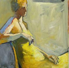 """Melinda Cootsona, """"Yellow Dress""""  27 x 27  Oil"""