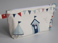 Beach Huts & Bunting Fabric Wash Bag by sewmoira on Etsy, £8.00