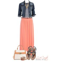 Beachy Coral with Navy, created by lv2create on Polyvore