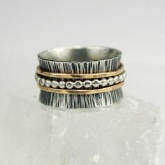 Gold and Beaded Silver Spinner Ring Wood Grain by bespokenjewelry