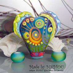 Cosmic World  Art Glass focal bead plus 2 round by michoudesign, $89.00