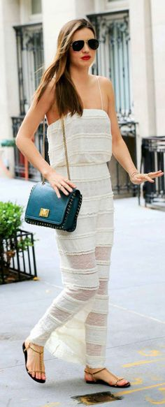 Miranda Kerr Sheer White Summer #Outfit