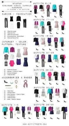 starter business casual capsule wardrobe checklist