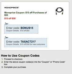Monoprice Coupon: $15 off Purchases of $50 Coupon Codes, Coupons, Coding, Coupon, Programming