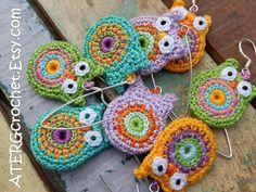 OWL EARRINGS by ATERGcrochet by ATERGcrochet on Etsy