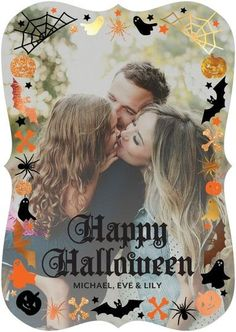 This haunting family Halloween card is perfectly lined with pumpkins, bats, ghosts, spiders and more.