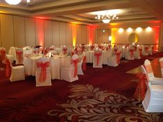 A gorgeous fall wedding setup with optional uplighting The Center @ Holiday Inn | Breinigsville, PA | Call 610.391.1000 for your tour today!