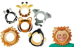 Printed Animal Face Masks (12). Have a wild time at your party! Monkey around with the rest of the 'animals' as you dress up with these cool masks. Perfect for a safari, zoo or jungle party! Cardboard with elastic bands. 33 cm Price is for 12 masks; 6 various designs (giraffe, elephant, monkey, lion, tiger, zebra)