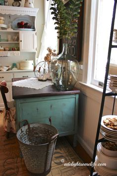 olive bucket demijohn french country cottage kitchen farmhouse style annie sloan chalk paint