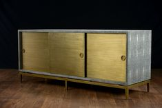 Odin Faux Shagreen Buffet Finishes: Espresso or Storm Faux Shagreen Frame and Doors: Antiqued Brass Left/Right Interior: 34