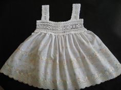 Super Cute Baby Dress Crocheted Cotton Top and Eyelet Skirt  by ButterflyKissesGifts.com  $26.99