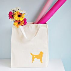 Puppy Love Roomy Organic Cotton Canvas Shopping Tote. You choose dog breed and color!!