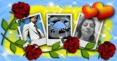 Fotocollage mit zwei Freunden und rote Rosen