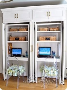 This Craft Cabinet Has A Hidden Drop Down Table That Hides Behind Pocketing Doors When Not In Use