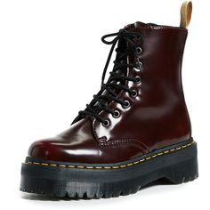 Dr. Martens V Jadon II 8 Eye Boots (€145) ❤ liked on Polyvore featuring shoes, boots, ankle booties, cherry red, vegan combat boots, vegan boots, faux leather combat boots, military boots and platform combat boots