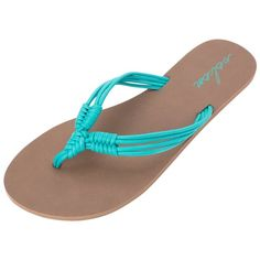 Volcom Womens Have Fun Flip Flop ($24) ❤ liked on Polyvore featuring shoes, sandals, flip flops, spring green, braided sandals, volcom flip flops, woven sandals, volcom footwear and woven shoes