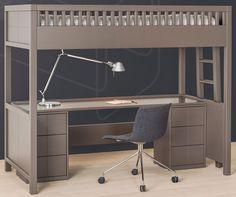 Lit Mezzanine Quarré avec bureau rabattable