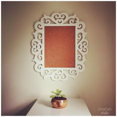 DIY Fancy Frame Cork Board © Limefish Studio | Art Studio Decor