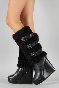 Fudge Fur Buckle Knee High Wedge Boot $49.90