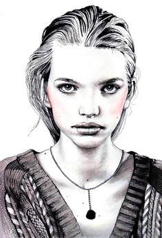 Красивая девушка, фэшн акварель. Больше портретов на блоге http://kochut-craft.blogspot.com/2014/10/blog-post.html?view=flipcard
