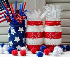 Mason Jar Crafts: American Flag Mason Jar
