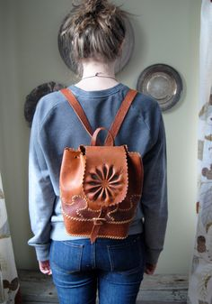 Vintage Backpack Tooled Leather Styled Purse Leather by Untried, $48.00