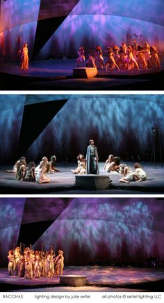 Production photos from one of my theatrical lighting designs illustrating extensive use of gobos.  Slightly different mixes of colors and textures riff on one visual idea.  This is a production of BACCHAE, a rock musical by Greg Pliska based on the Euripides tragedy.  Scenic design by Hugh Landwehr.