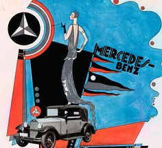 This draft advertisement from 1929 (Peag) takes up elements of constructivism and is absolutely unique in the world of advertising from Mercedes-Benz.