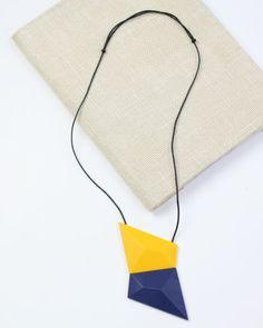 Yellow and Blue Geometric Resin Necklace by Sylca