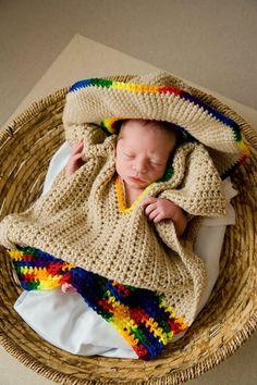 Baby Sombrero and Poncho Photo Prop  Newborn to 3 by pixieharmony, $56.95