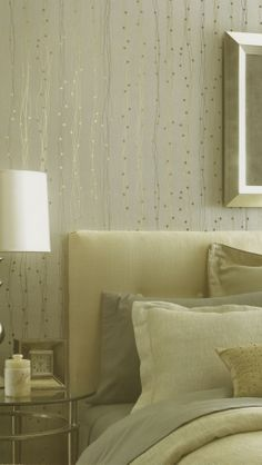 Give walls subtle metallic interest with this wallpaper from the Dynasty Foils Collection. Find it at AmericanBlinds.com.