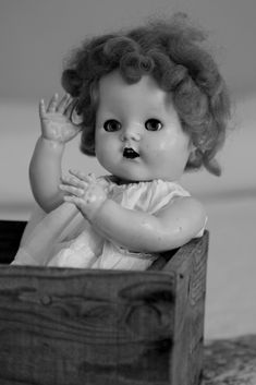 60's Pedigree doll in B & W. I had this one too. Her hair was the same, as I brushed it. Never the QE2nd  look again.