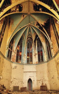 """""""abandoned church - Buffalo, NY"""" look at that cieling...why would you just leave it there to rot"""