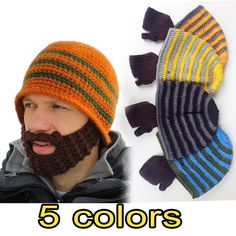 Crochet Beard Beanie Mustache Mask Face winter Warmer Ski Knit Hat Cap   unbranded  Beanie cd884616339f