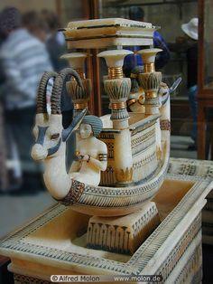 Alabaster boat from the tomb of King Tutankhamun, c. 14th century BCE