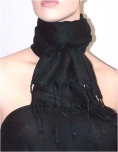 Fantastic pashmina oblong scarf with fringe in black Symphony Designs. $7.00