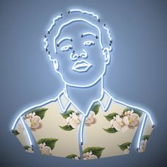 """The Childish Neon Floral Print by K. Osborne creates a fresh new perspective of the uber-talented Donald Glover. This piece is custom trimmed with 1"""" border for framing. Please allow 1-3 weeks for shi"""