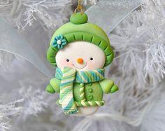 Ručně Polymer Clay Snowman Ornament
