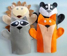 Woodland animaux Felt Marionnettes à main | YouCanMakeThis.com
