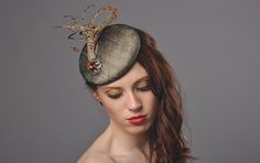 Sarah beret Sinamay and silk layered beret with pheasant feather and vintage brooch www.natashamoorhouse.com