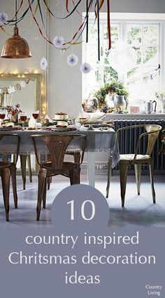 Set the festive scene with Christmas decorations in every room of the house with burnished metals, traditional greenery and simple homemade decorations full of individual charm.