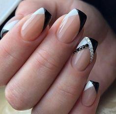 Melhor Cutest Branco e Preto ☃ Idéias de unhas para festa de inverno ☃ French Nails, Gel French, French Manicure Nail Designs, Classy Nail Designs, Nail Manicure, Nail Art Designs, Gel Nails, Manicure Ideas, Nail Polish