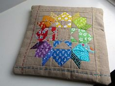 Rainbow Pillow, quilted
