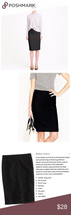 ✨SALE✨J.Crew No. 2 Pencil Skirt Double Serge Wool The best of J.Crew in black. Instant wardrobe staple. If you don't believe me, check out the reviews online. Excellent condition. No defects. Offers welcome. Bundle & save✨ J. Crew Skirts Pencil