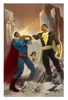 Black Adam or shazam could kill superman so easily if they wanted to  Black Adam vs Superman by Josep Baixlauli