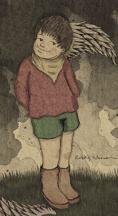 -1 Illustration by Rizky Warnerin #RizkyWarnerin #illustration #childrenbook  #children #fineart #drawing #fairytale #cute #angel #wing #romantic #pastel #watercolour #mixedmedia