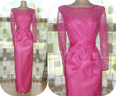 $85.99 #Vintage 60s HOT #PINK Lace Illusion #Wiggle #Cocktail Gown S/M 8/10 Taffeta Column #Dress #MARILYNMONROE #VCAT by IntrigueU4Ever, $85.99
