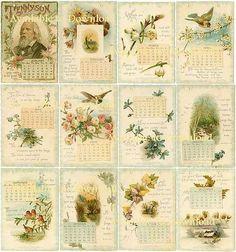 Digital Download 1896 TENNYSON CALENDAR Antique Images