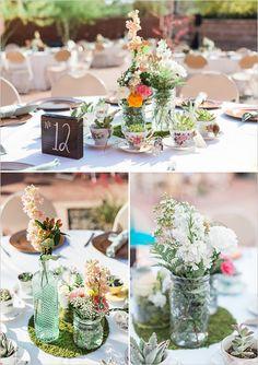 glass bottle flower vase centerpieces with table numbers (Bottle Centerpieces Succulents)