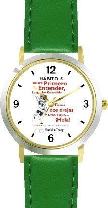 Habit 5 - Seek First to Understand (Spanish Text) - DELUXE TWO-TONE WATCH from THE 7 HABITS - WATCH COLLECTION BY WATCHBUDDY® - Arabic Numbers - Green Leather Strap-Size-Children's Size-Small ( Boy's Size & Girl's Size ) WatchBuddy. $49.95